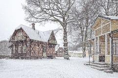 Ramlosa brunnspark房子在冬天 免版税库存图片