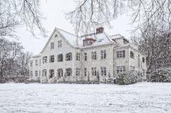 Ramlosa brunnspark植物群房子在冬天 库存图片