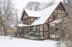 Ramlosa brunnspark house in winter Royalty Free Stock Photos