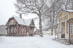 Ramlosa brunnspark houses in winter Royalty Free Stock Image