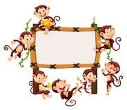 Rammall med apor stock illustrationer