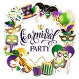 Rammall med guld- karnevalmaskeringar på svart bakgrund Blänka den festliga gränsen för beröm vektor royaltyfri illustrationer