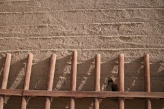 Rammed earth wall ancient village Dunhuang, China Stock Photos