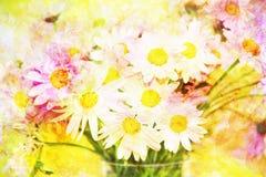 Ramo abstracto escénico con las margaritas hechas con los filtros de color ilustración del vector