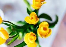 Ramo amarillo de las flores del tulipán en florero imagen de archivo libre de regalías