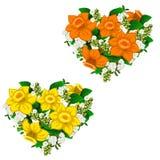 Ramo amarillo y anaranjado de forma del corazón de las flores Imagen de archivo libre de regalías
