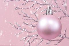 Ramo brilhante com a quinquilharia cor-de-rosa do Natal monocromática com neve foto de stock