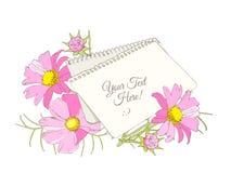 Ramo brillante de las flores y una hoja de papel en la tabla, vector Fotos de archivo libres de regalías