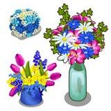 Ramo brillante tres de flores en florero y pote libre illustration