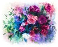 Ramo color de rosa de las acuarelas Imagen de archivo