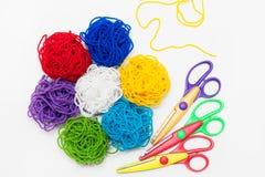 Ramo colorido de las cuerdas de rosca Bordado, hilo, cosiendo Fotografía de archivo libre de regalías