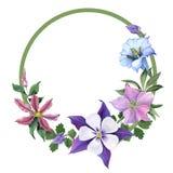 Ramo con las flores de la genciana y del jardín Imágenes de archivo libres de regalías