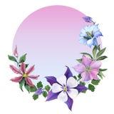 Ramo con las flores de la genciana y del jardín Fotografía de archivo libre de regalías
