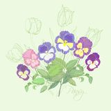 Ramo con los pensamientos y los tulipanes Imagenes de archivo