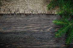 Ramo d'annata del pino di insaccamento sul fondo di Natale del bordo di legno fotografia stock