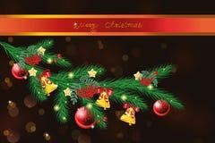 Ramo da pele-árvore do vetor com decorações do Natal Fotos de Stock Royalty Free
