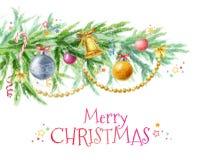 Ramo de árvore do Natal com a decoração dos brinquedos, das bolas, dos grânulos e dos sinos Fotografia de Stock Royalty Free