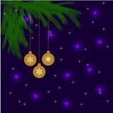 Ramo de árvore do Natal com quinquilharias do ouro ilustração do vetor