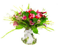 Ramo de calas y de rosas Fotografía de archivo