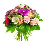 Ramo de color de rosa, de paeonia y de orquídea Imagen de archivo libre de regalías