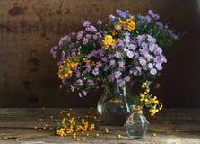Ramo de colores del otoño en un jarro transparente Imagenes de archivo