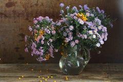Ramo de colores del otoño en un jarro transparente Fotografía de archivo