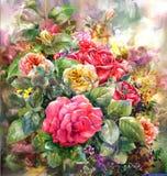 Ramo de estilo color de rosa de la pintura de la acuarela Imágenes de archivo libres de regalías