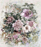 Ramo de estilo multicolor de la pintura de la acuarela de las flores Imagenes de archivo