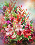Ramo de estilo multicolor de la pintura de la acuarela de las flores Imagen de archivo libre de regalías