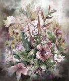 Ramo de estilo multicolor de la pintura de la acuarela de las flores Foto de archivo