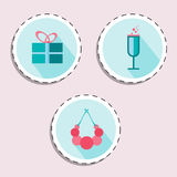 Ramo de flor, sombrero, lápiz labial para el sistema del icono de la mujer Belleza y accesorios Fotos de archivo libres de regalías
