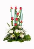 Ramo de flores color de rosa del rojo Imagenes de archivo