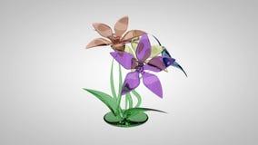 Ramo de flores coloridas de cristal almacen de metraje de vídeo
