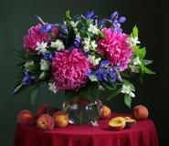 Ramo de flores cultivadas en el jarro y los melocotones Fotografía de archivo libre de regalías