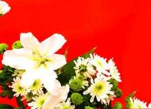 Ramo de flores del lirio blanco y del crisantemo verde Decoración festiva imagenes de archivo