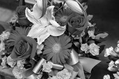 Ramo de flores en blanco y negro Imagenes de archivo