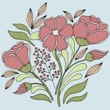Ramo de flores en un fondo azul ilustración del vector