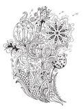 Ramo de flores estilizadas en el estilo del arte del zen Imágenes de archivo libres de regalías