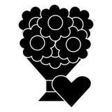 Ramo de flores 2 icono, ejemplo del vector, muestra negra en fondo aislado stock de ilustración