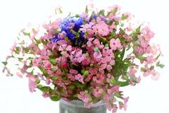 Ramo de flores salvajes rosa y azul en un fondo blanco Imágenes de archivo libres de regalías
