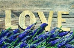 Ramo de flores salvajes violetas del verano y el mensaje en amor de letras brillantes Foto de archivo libre de regalías