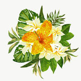 Ramo de flores tropicales Stock de ilustración
