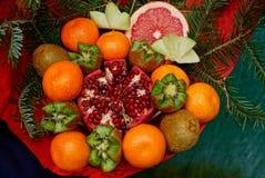 Ramo de frutas frescas y de granada roja con las ramas coníferas Imagen de archivo libre de regalías