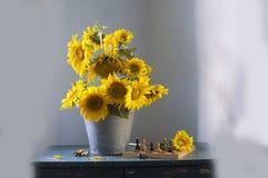 Ramo de girasoles amarillos Fotos de archivo libres de regalías