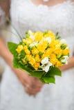 Ramo de la boda de tulipanes amarillos Imágenes de archivo libres de regalías