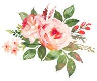 Ramo de la flor con el rojo rosas rosadas Foto de archivo