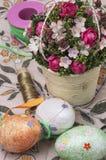 Ramo de la flor y accesorios de costura Fotografía de archivo