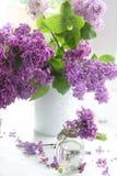 Ramo de la lila en un florero contra una ventana Imagenes de archivo