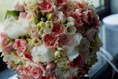Ramo de la novia en rosa El casarse floristry Foto de archivo libre de regalías