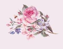 Ramo de la primavera de la acuarela con la cereza floreciente y las rosas inglesas Imagen de archivo